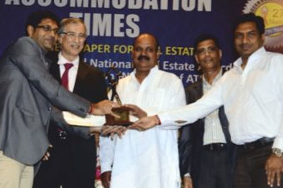 """Best Redevelopment Project of the year"" (Shree Mohankheda Heights) at National Real Estate Award Accommodation Times 2012"