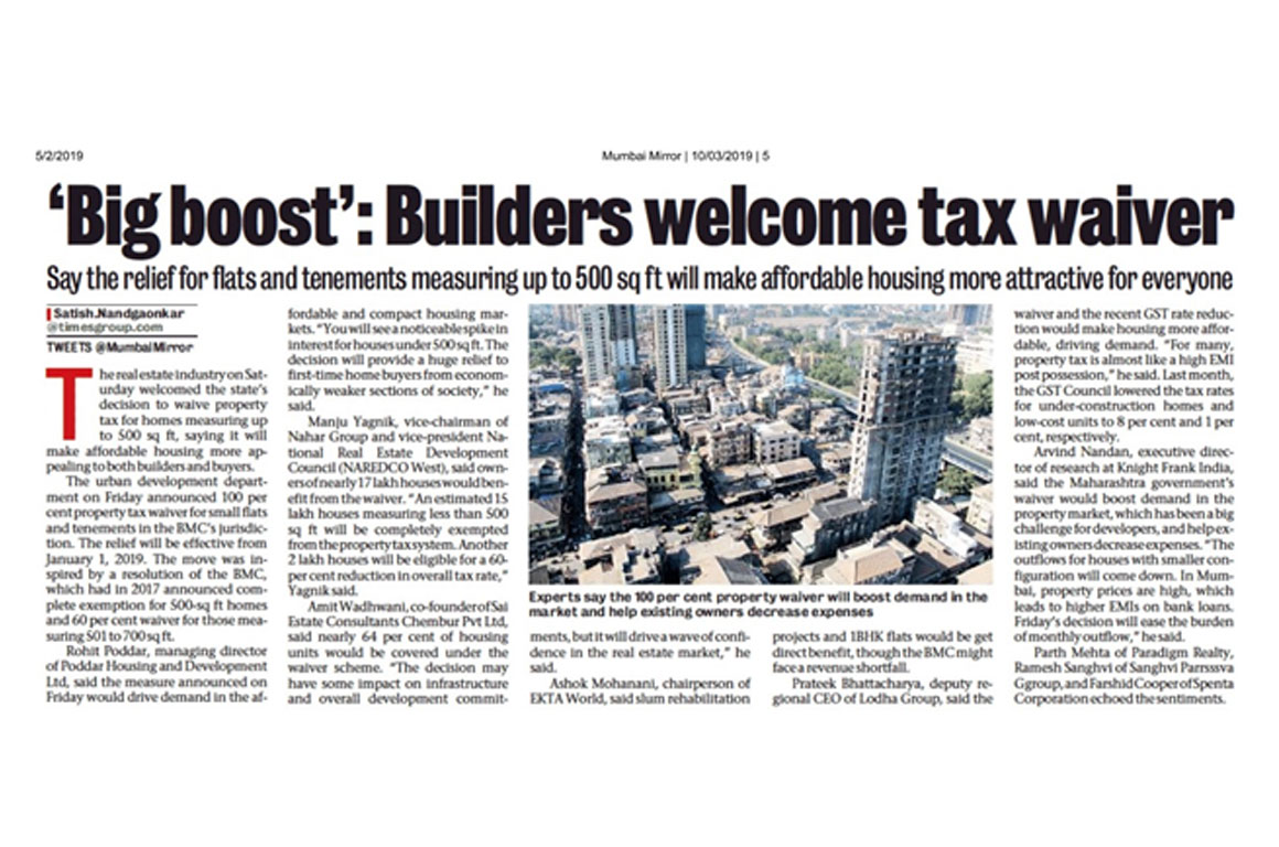 Big boost' - Builders welcome tax waive