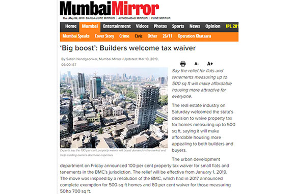 Big boost' - Builders welcome tax waiver