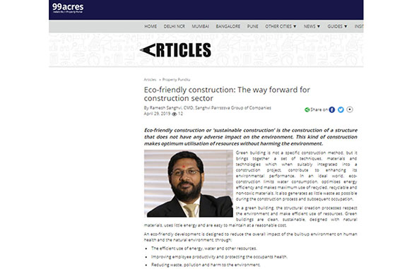 Eco-friendly construction - The way forward for construction sector