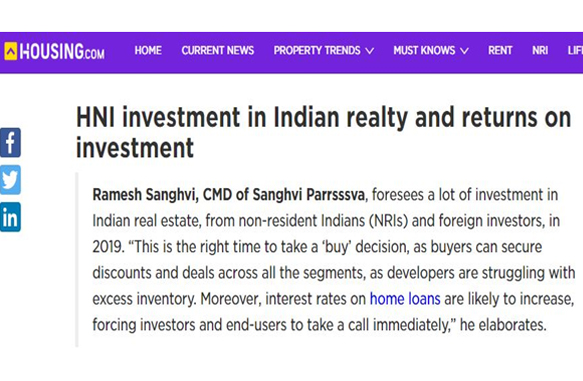 HNI investment in Indian realty and returns to on investment - Housing.com January 2019