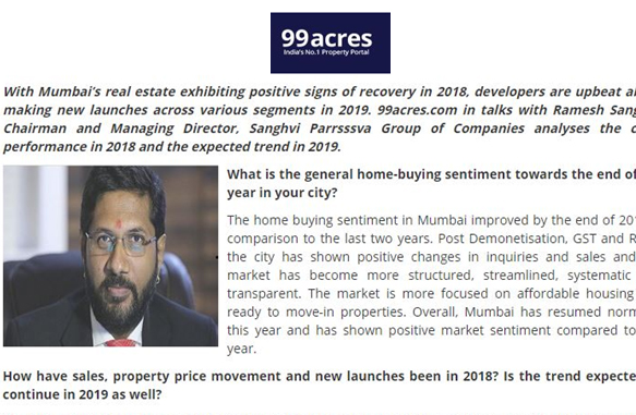 Yearly Round Up: Mumbai realty Shows Marked improvement in 2018 - 99 Acres December 2018